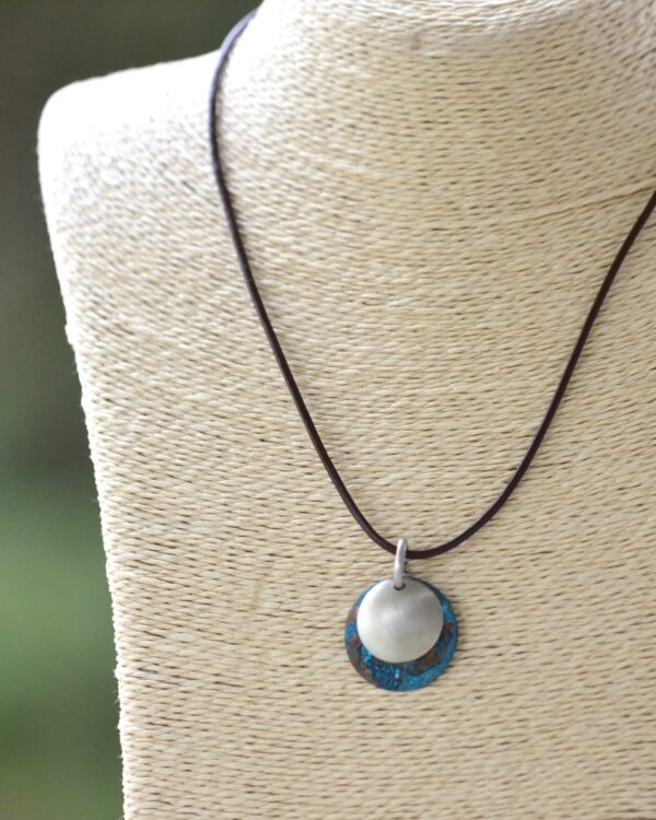 blue patina dome leather necklace with brushed nickel overlay