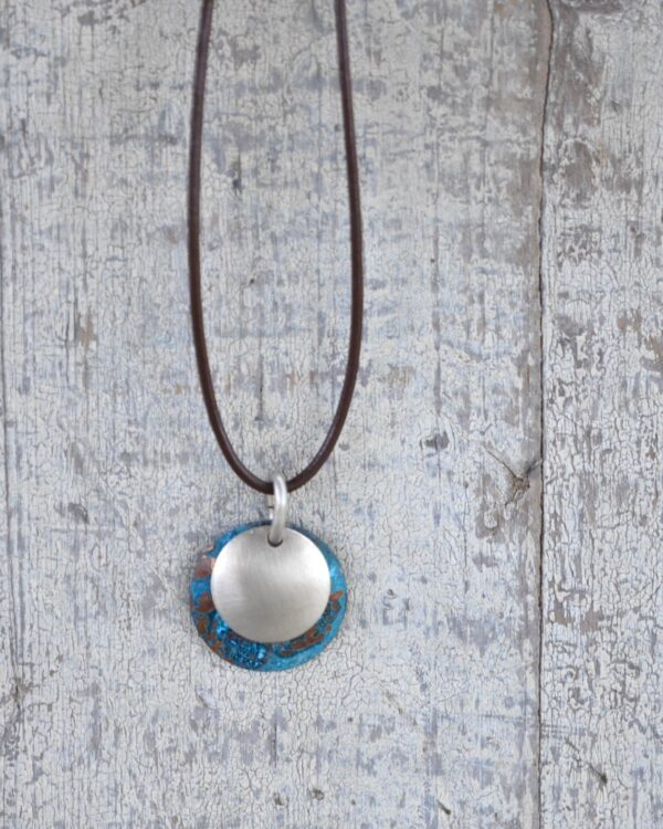 blue patina dome leather necklace with brushed nickel overlay vertical on white