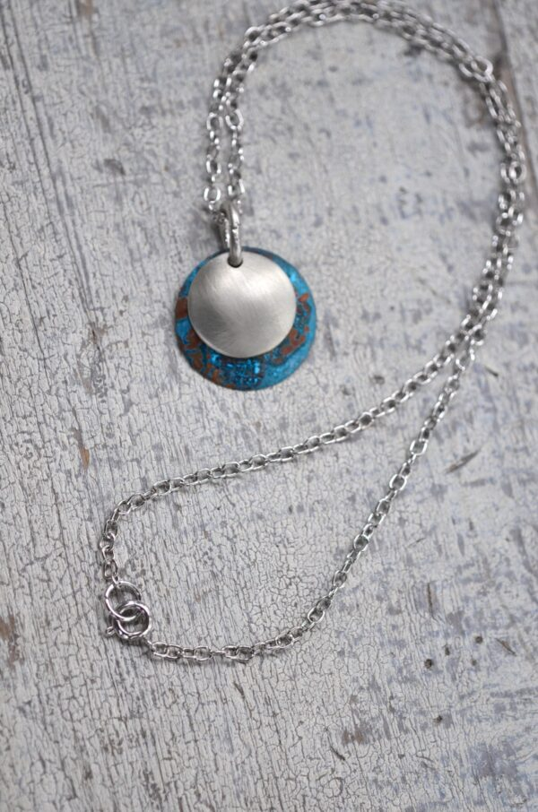 blue patina dome necklace with brushed nickel overlay necklace clasp