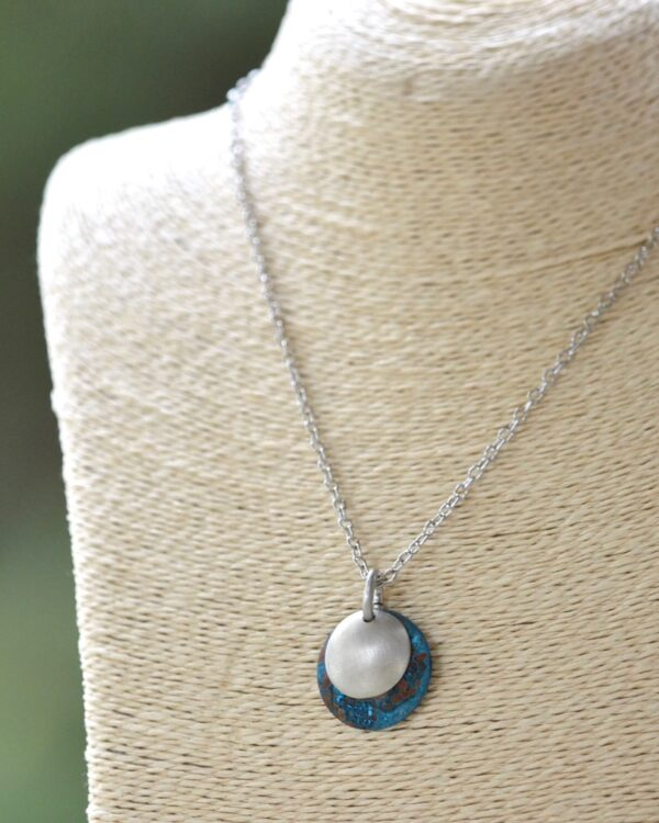 blue patina dome necklace with brushed nickel overlay necklace on bust vertical