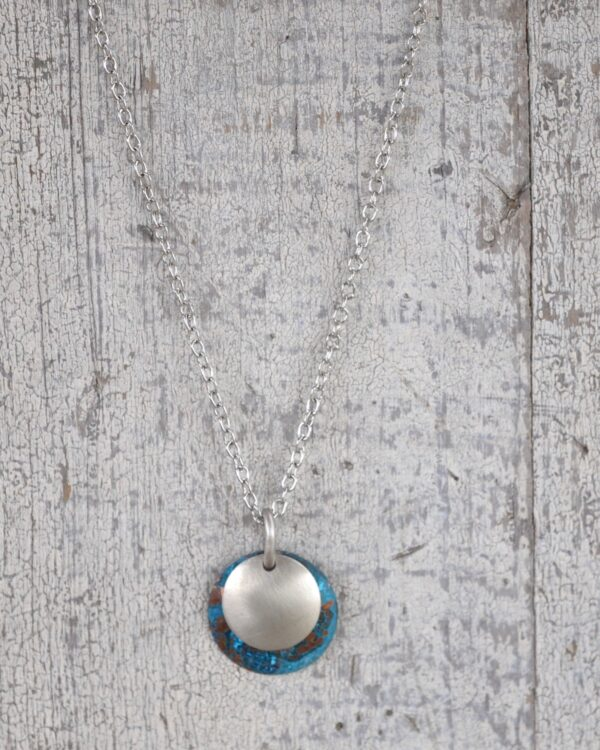 blue patina dome necklace with brushed nickel overlay necklace vertical image on white