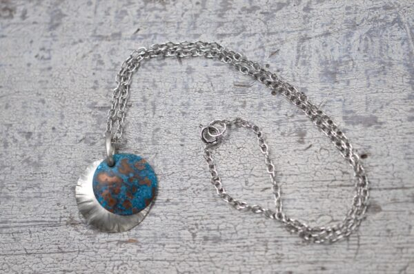 blue patina overlay on textured brushed nickel dome necklace clasp