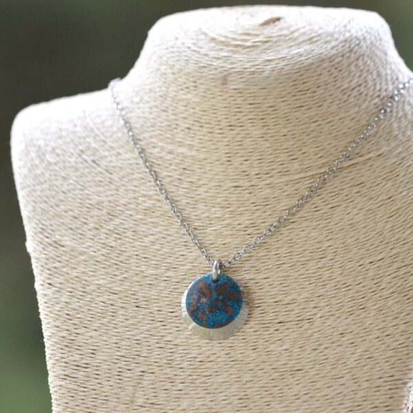 blue patina overlay on textured brushed nickel dome necklace square bust