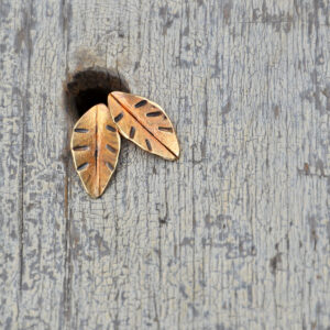bronze leaves stud earrings