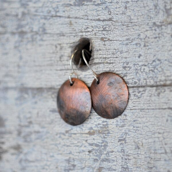 copper dome earrings with circle texture