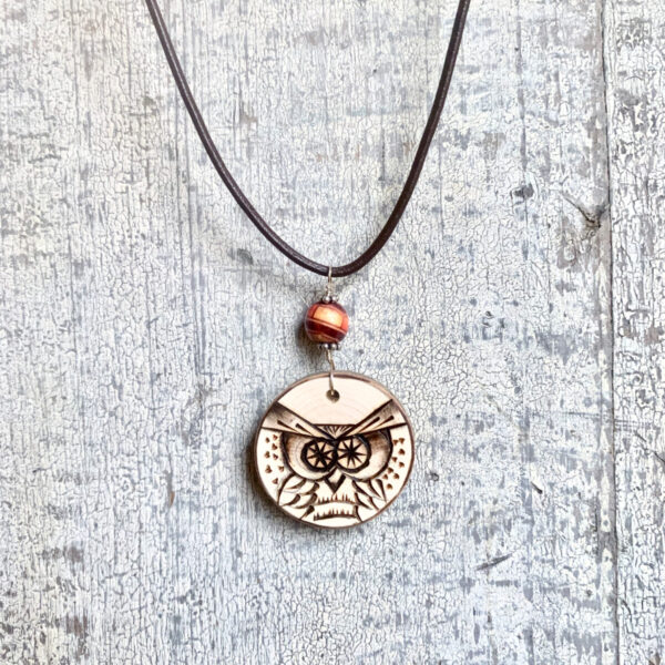 wood burned owl necklace on leather cord