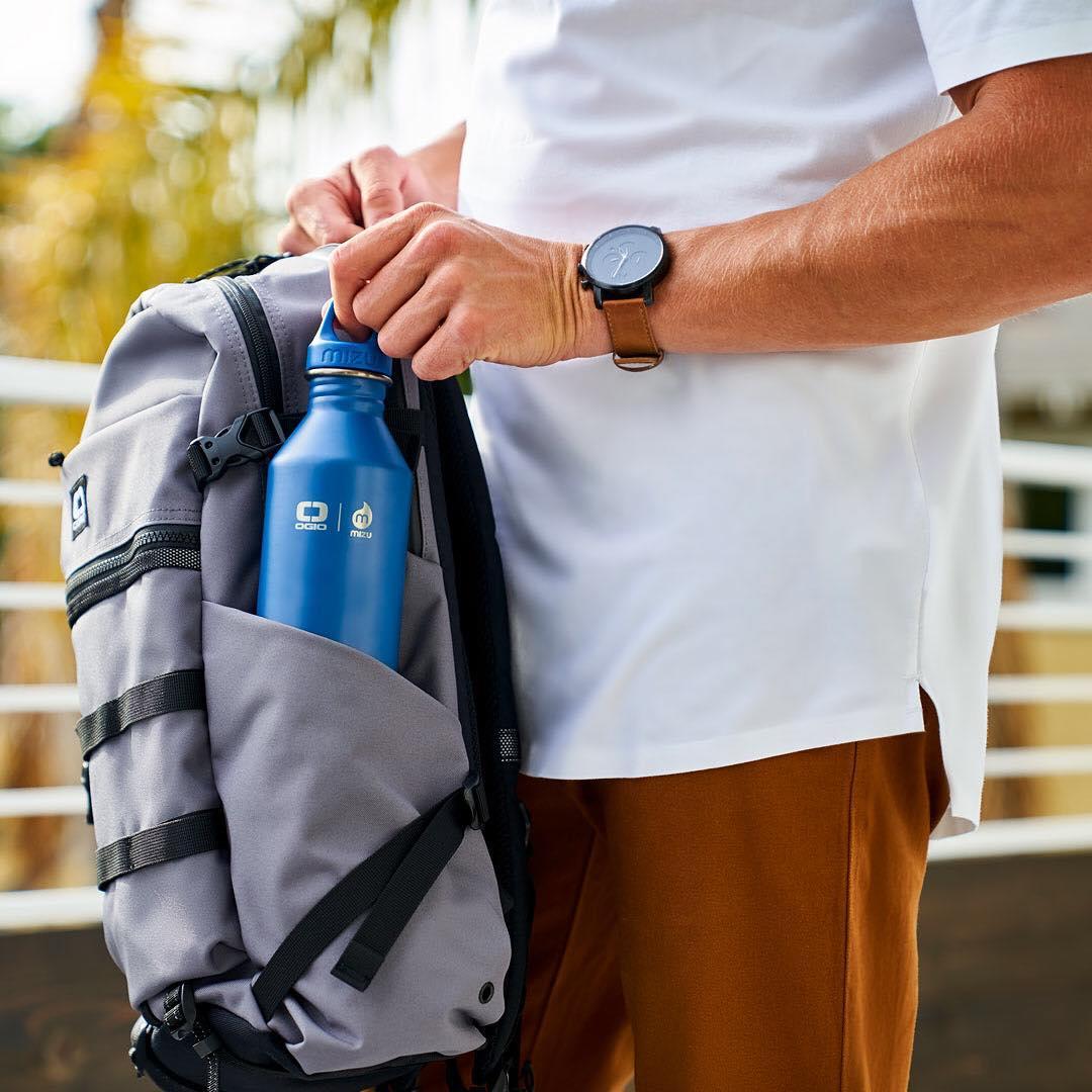 OGIO x MIZU collab reusable water bottle