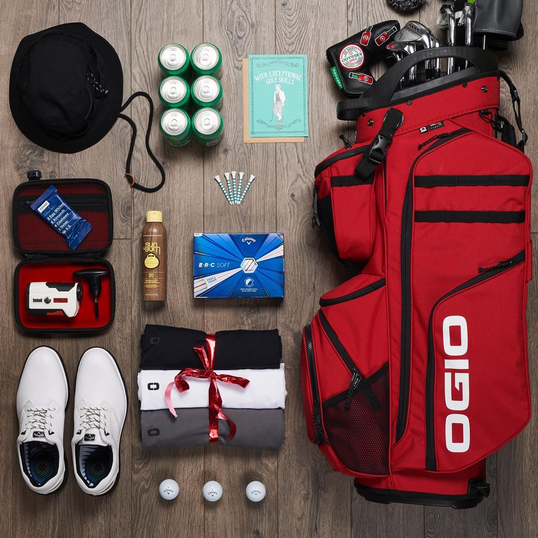 OGIO Fathers Day Knolling shot. Organization of golf items for Fathers Day.