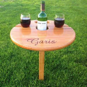Best Wine Table (folding+portable) Unique gift for wine-lovers, personalized gift, birthday, camp, wedding, anniversary, retirement, RV