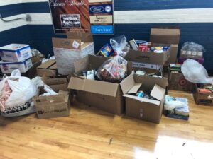 Boxes filled with donated food