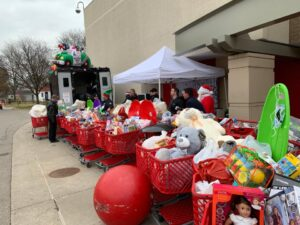 Target carts filled with gifts donated