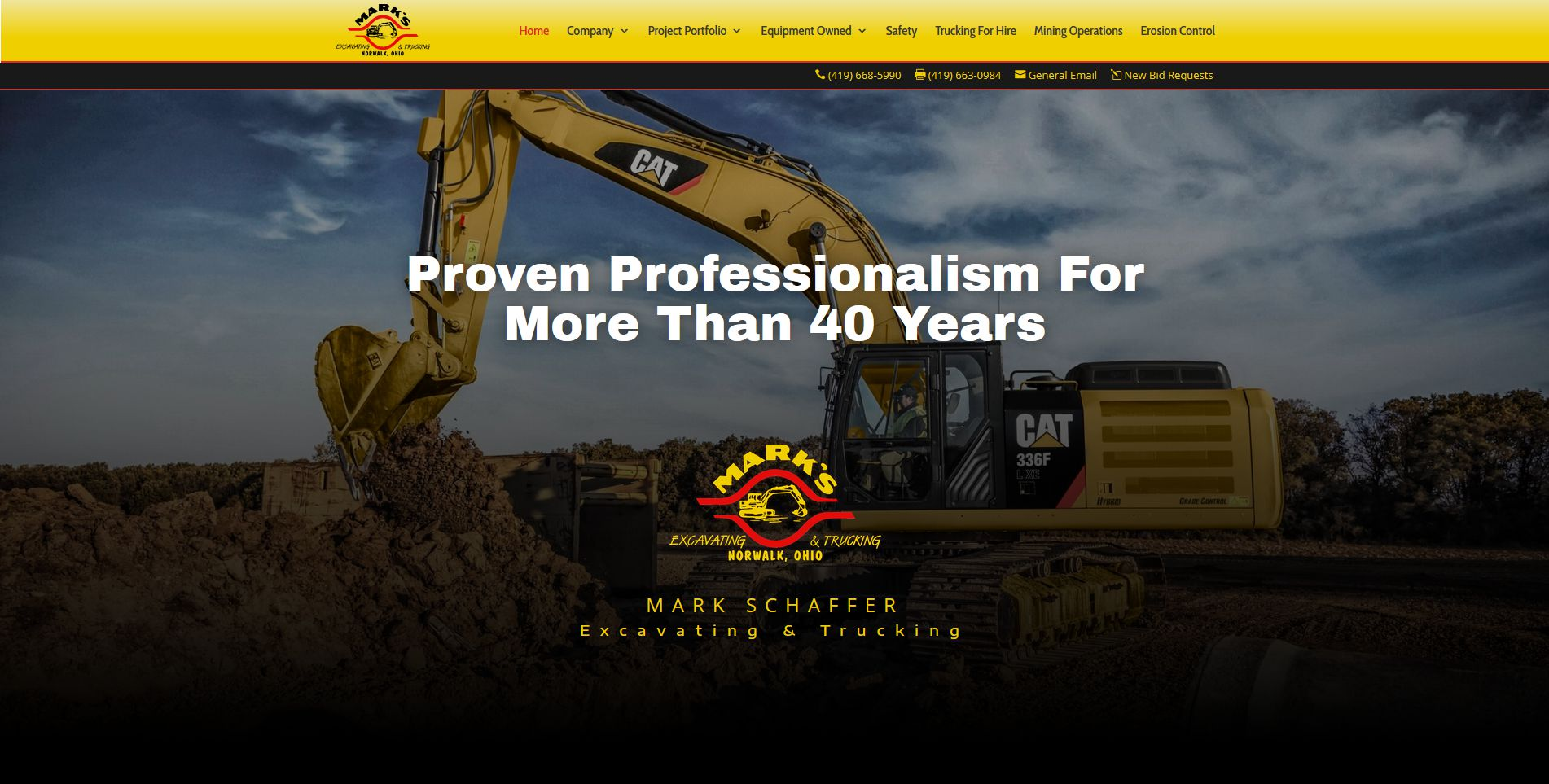 Screen capture of the Mark Schaffer Excavating & Trucking website home page.