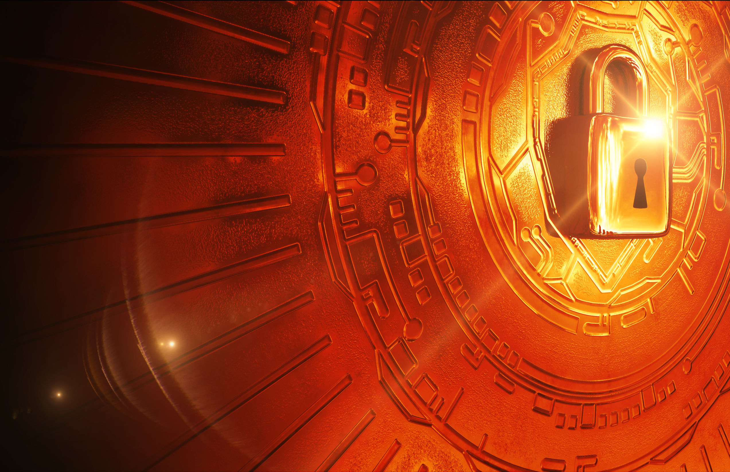 Conceptual cybersecurity image: a 3d modeled rendering of a padlock on a metallic tech background
