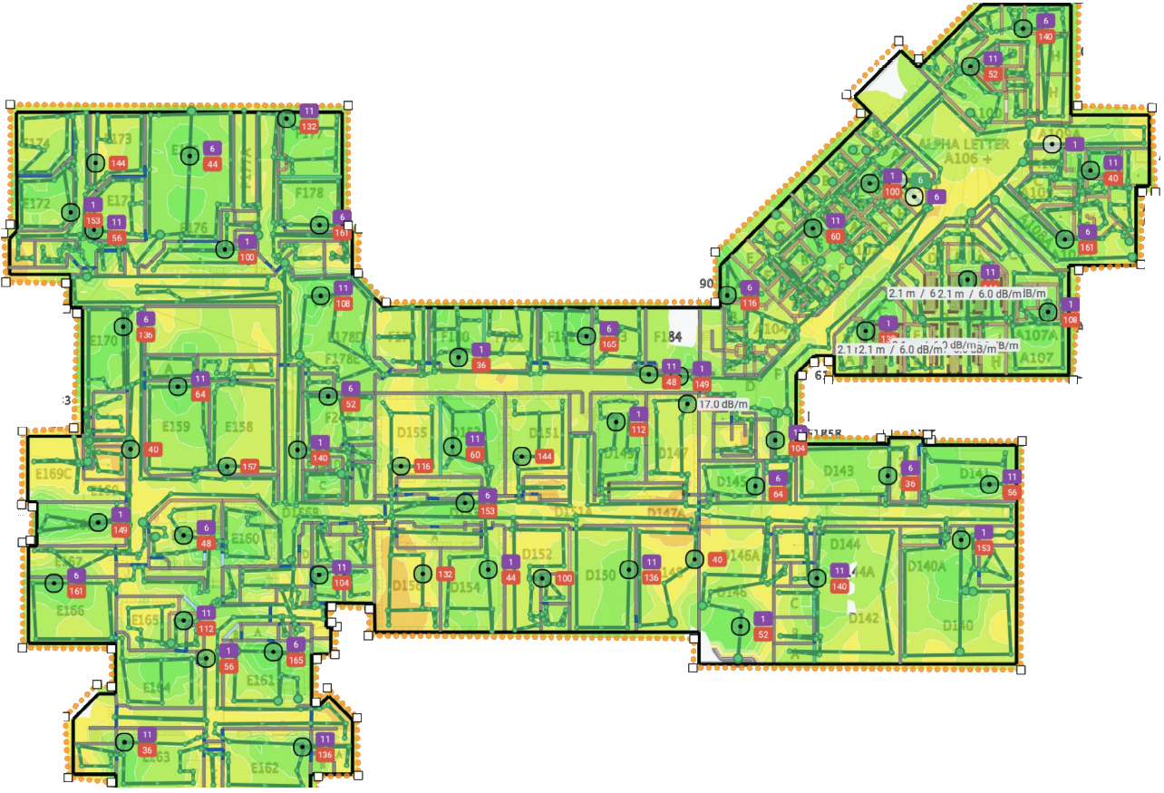 This is an image of a heat map of wifi full coverage.