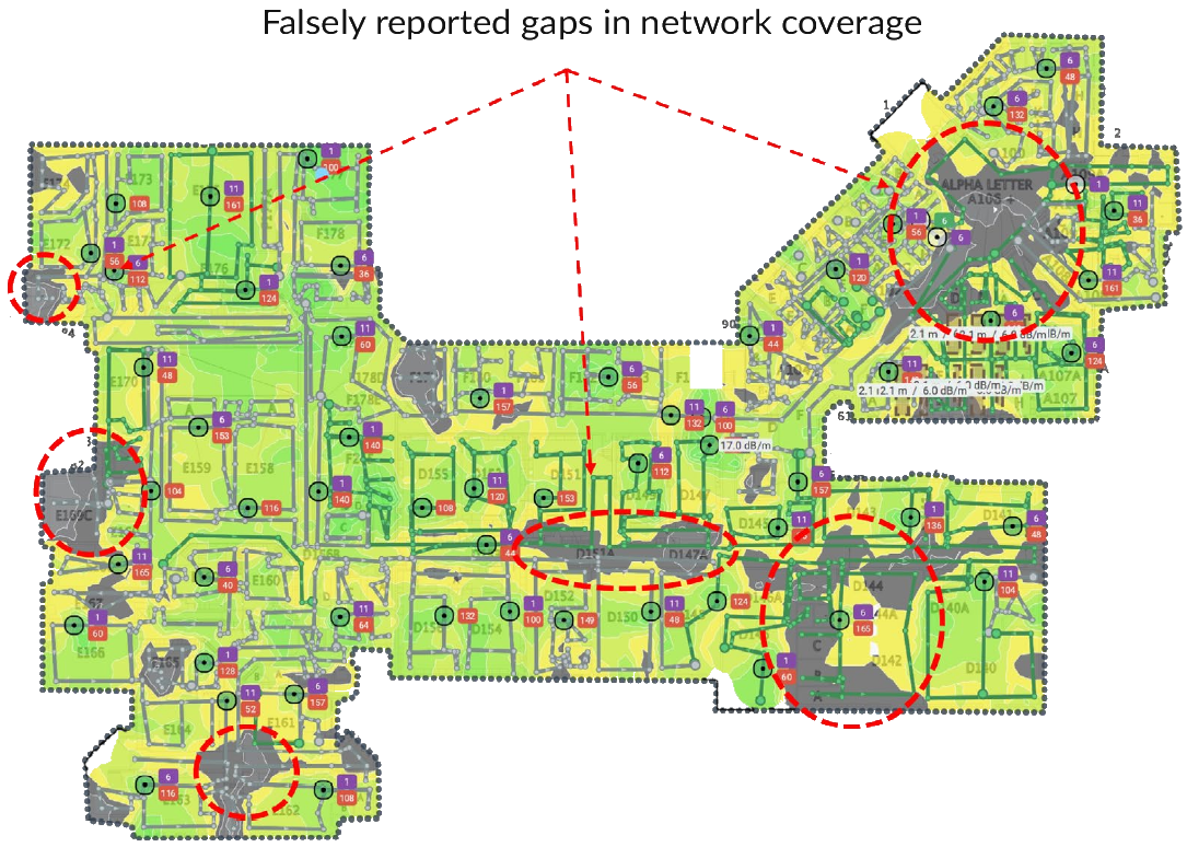 This is an image of a heat map of wifi spotty coverage.