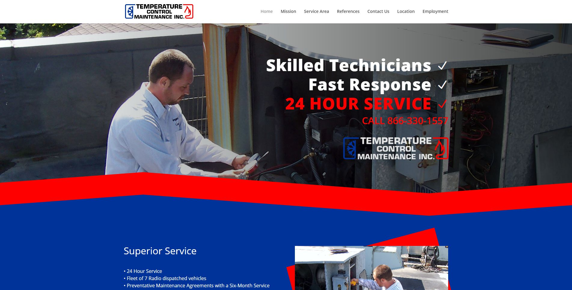 Screen capture of the Temperature Control Maintenance home page.