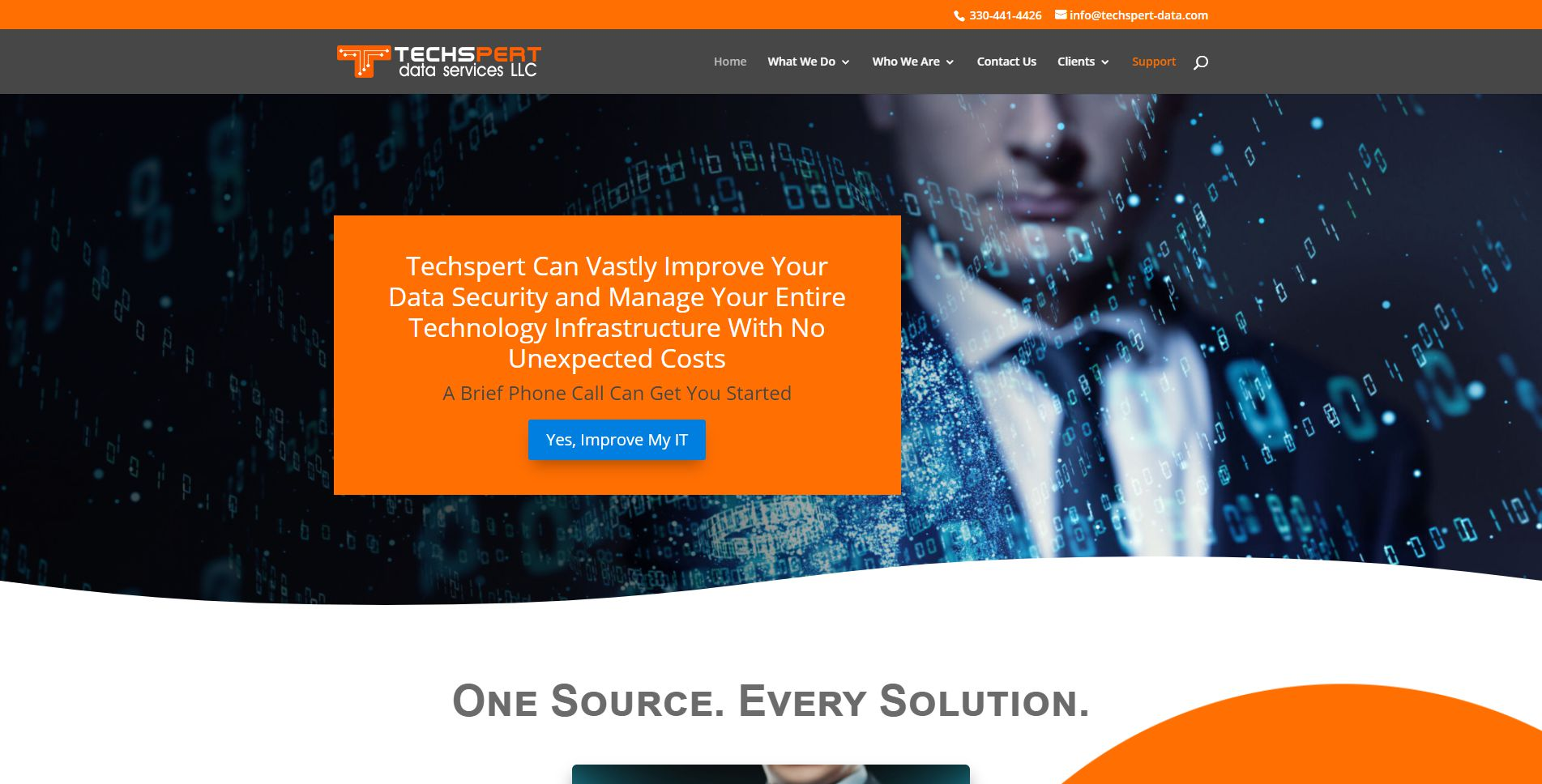 Screen capture of the Techspert Data Services home page.