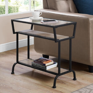 ACCENT TABLE – 22″H / DARK TAUPE / BLACK / TEMPERED GLASS