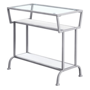 ACCENT TABLE – 22″H / WHITE / SILVER / TEMPERED GLASS