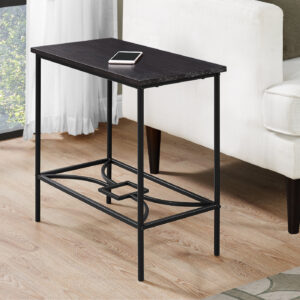 ACCENT TABLE – 22″H / ESPRESSO / BLACK METAL