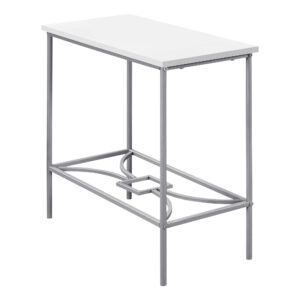 ACCENT TABLE – 22″H / WHITE / SILVER METAL