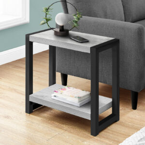 ACCENT TABLE – 22″H / GREY / BLACK METAL
