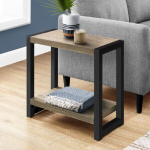 ACCENT TABLE – 22″H / DARK TAUPE / BLACK METAL