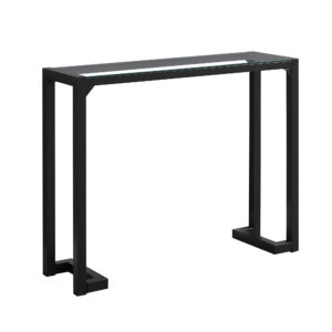 ACCENT TABLE – 42″L / BLACK / TEMPERED GLASS HALL CONSOLE
