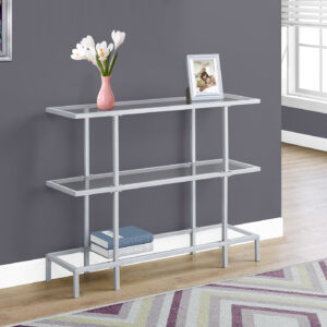 ACCENT TABLE – 42″L / SILVER /TEMPERED GLASS HALL CONSOLE