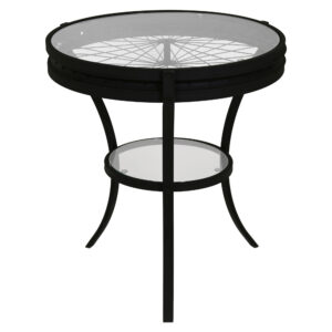 ACCENT TABLE – 22″DIA / BLACK WITH TEMPERED GLASS