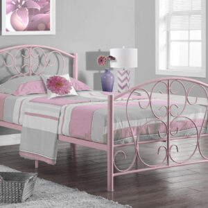 BED – TWIN SIZE / PINK METAL FRAME ONLY