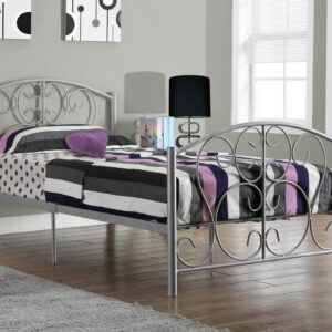 BED – TWIN SIZE / SILVER METAL FRAME ONLY