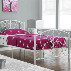 BED – TWIN SIZE / WHITE METAL FRAME ONLY