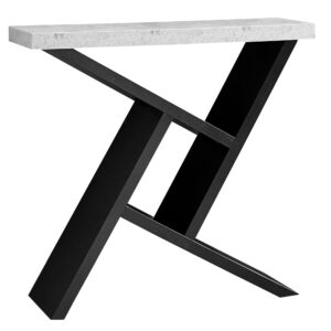 ACCENT TABLE – 36″L / BLACK / CEMENT-LOOK HALL CONSOLE