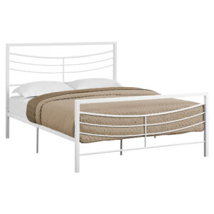 BED – QUEEN SIZE / WHITE METAL FRAME ONLY