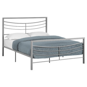 BED – QUEEN SIZE / SILVER METAL FRAME ONLY
