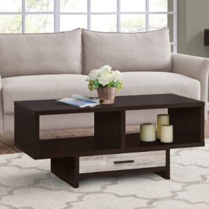 COFFEE TABLE – ESPRESSO / TAUPE RECLAIMED WOOD-LOOK