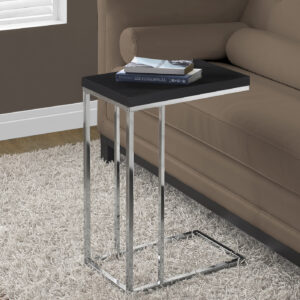 ACCENT TABLE – ESPRESSO WITH CHROME METAL