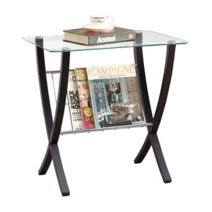 ACCENT TABLE – ESPRESSO BENTWOOD WITH TEMPERED GLASS