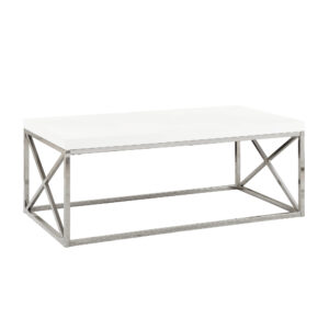 COFFEE TABLE – GLOSSY WHITE WITH CHROME METAL