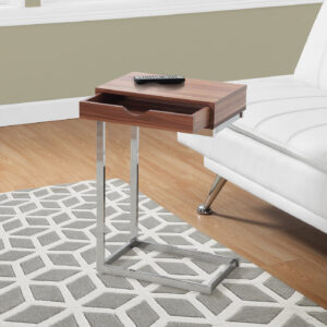 ACCENT TABLE – WALNUT / CHROME METAL WITH A DRAWER