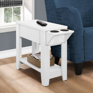 ACCENT TABLE – 23″H / WHITE WITH A GLASS HOLDER
