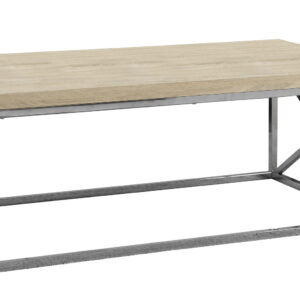 COFFEE TABLE – NATURAL WITH CHROME METAL