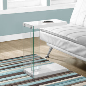 ACCENT TABLE – GLOSSY WHITE WITH TEMPERED GLASS