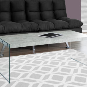 COFFEE TABLE – GREY CEMENT WITH TEMPERED GLASS