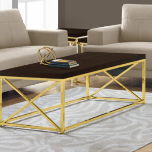 COFFEE TABLE – ESPRESSO WITH GOLD METAL