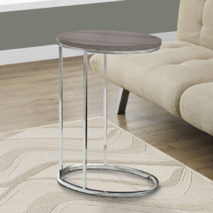 ACCENT TABLE – OVAL / DARK TAUPE WITH CHROME METAL