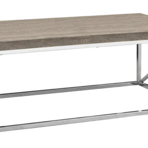 COFFEE TABLE – DARK TAUPE WITH CHROME METAL