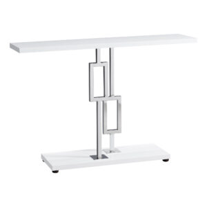 ACCENT TABLE – 48″L / GLOSSY WHITE / CHROME METAL