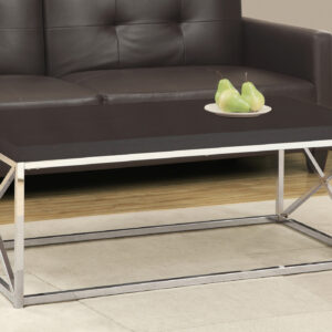 COFFEE TABLE – ESPRESSO / CHROME METAL